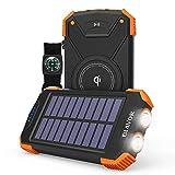 Solar Power Bank, Qi Wireless Charger 10,000mAh External Battery Pack Type C Input Port Dual Flashlight, Compass (IPX4 Splashproof, Dustproof, Shockproof, Solar Panel Charging, DC5V/2.1A Input)