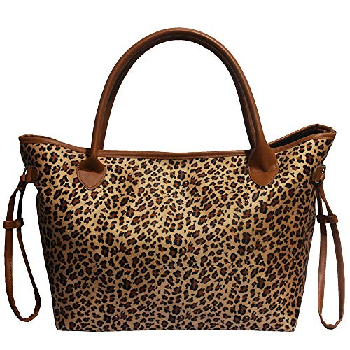 Buffalo Plaid Tote Bag Leopard Print Shoulder Bags with Polyester Lining (Leopard Print)