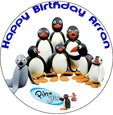 Fabulous 7 5 Pingu Penguin Edible Icing Birthday Cake Topper Amazon Co Uk Funny Birthday Cards Online Aeocydamsfinfo