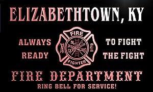 qy56729-r FIRE DEPT ELIZABETHTOWN, KY KENTUCKY Firefighter Neon Sign