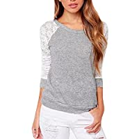 muju Women Embroidery Lace Crochet Long Sleeve Shirt Backless casual Hoodies