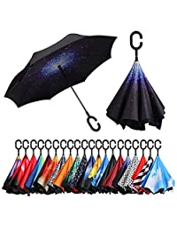 BAGAIL Double Layer Inverted Umbrellas Reverse Folding Umbrella Windproof UV Protection Big Straight Umbrella for Car Rain Outdoor with C-Shaped Handle (Starry Sky)
