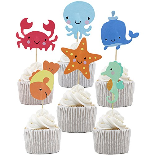 Betop House 24pcs Under the Sea Themed Party Decorating Cake and Cupcake Toppers ()