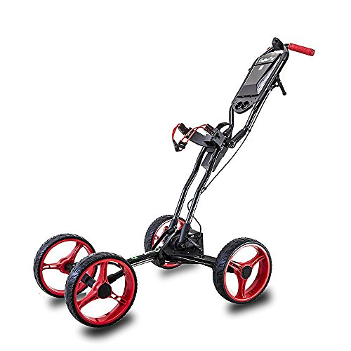Check Cart - Total Automatic Folding Golf Push Cart by Golferpal (please check YouTube video for more detail of this amazing design) (Black / Red)