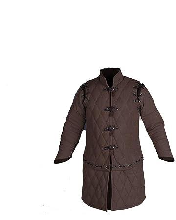 Black Cotton Fabrics Medieval Gambeson Thick Padded Coat Aketon Jacket Armor