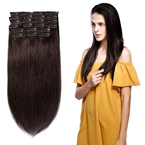 Clip in Hair Extensions Human Hair Full Head 8 Pieces 18 Clips 100% Real Silky Human Hair 10 Pieces 22 Clips Straight 14