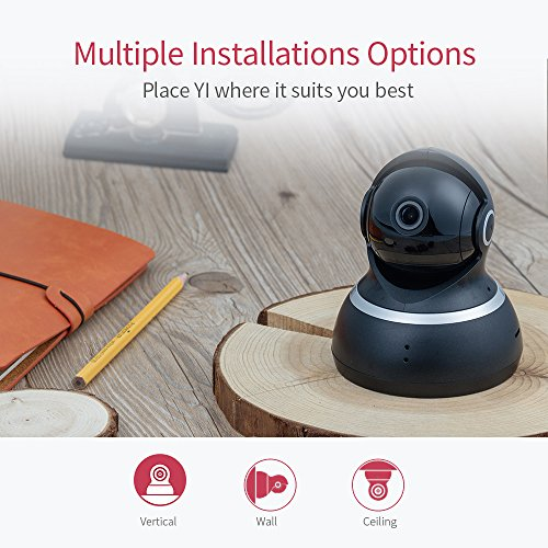 YI Dome Security Camera 1080p HD Pan/Tilt/Zoom 2.4G IP Surveillance System, Optional 24/7 Emergency Response, Auto-Cruise, Motion Track, Night Vision, iOS/Android App Available - Black