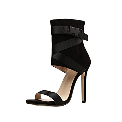 ddb466db09 Sandals for Women Jamicy High Heel Sandals Summer Suede Leather Wedge Sexy  Bandage Party Casual Shoes