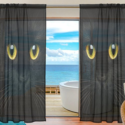 SEULIFE Window Sheer Curtain, Halloween Animal Black Cat Face Voile Curtain Drapes for Door Kitchen Living Room Bedroom 55x78 inches 2 Panels