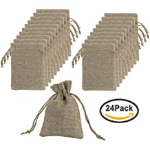 Jaciya 24 Pcs Burlap Bags with Drawstring Gift Bags for Wedding Party and DIY Craft, 5 x 3.5 inches