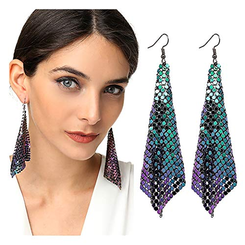 Suyi Trendy Women Earrings Metal Mesh Grid Sequins Tassel Long Drop Dangle Earrings Multicolor