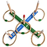 Champion Sports Wooden Ring Toss Game (Includes Wooden Base, 5 Wood Pegs, 4 Rings)