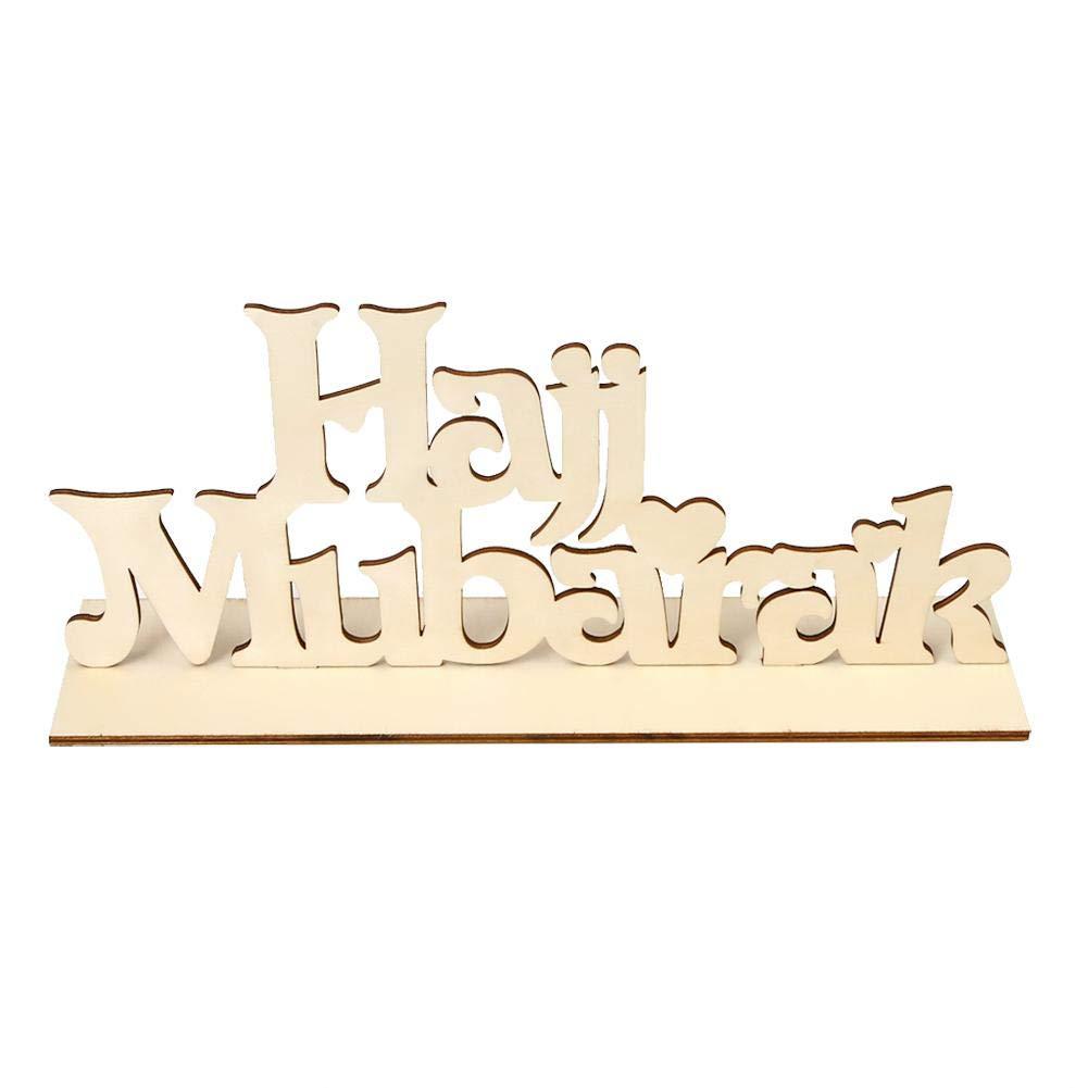 AUNMAS en Bois Artisanat Eid Mubarak Ramadan Alphabet Château Table Signe Decor Décor Home Ramadan Party Pièce maîtresse Festivals Décoration(1#)