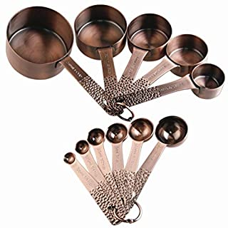 Lucky Plus 11pcs Copper Plated Stainless Steel Measuring Cups and Spoons Set Heavy Duty 5 Measurer cups and 6 Measurement Spoons Color Copper