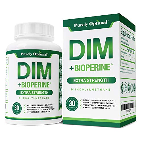 Premium DIM Supplement 250mg - Diindolylmethane Plus BioPerine, Hormone Balance for Women, Estrogen Blocker for Men, Hormonal Acne Treatment, PCOS, Menopause Relief, Aromatase Inhibitor, 30 Vegan Caps