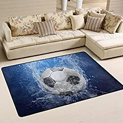 Naanle Sport Area Rug 2'x3', Soccer Ball Water Drops Polyester Area Rug Mat Living Dining Dorm Room Bedroom Home Decorative