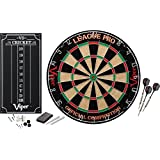 Viper League Pro Regulation Bristle Steel Tip Dartboard Starter Set with Staple-Free Bullseye, Galvanized Metal Radial Spider Wire; High-Grade Compressed Sisal Board with Rotating Number Ring for Extending Life, Includes Chalk Cricket Scoreboard and Steel Tip Darts