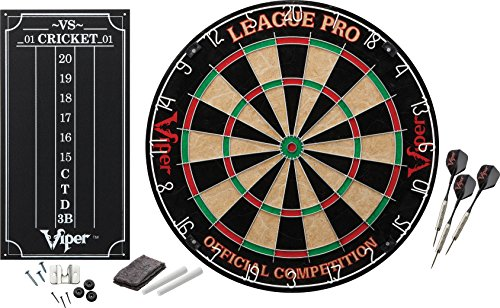 Viper League Pro Sisal/Bristle Steel Tip Dartboard with Staple-Free Bullseye and Cricket Scoreboard Kit by Viper by GLD Products
