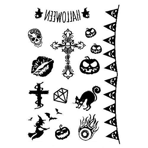 5 Pcs Black Temporary Tattoos,Halloween Black Tattoo Stickers, Skull,Pumkin,Witch Patterns,FakeTattoo Sticker Arm Shoulder Leg& Back Makeup,Waterproof Body Sticker (Black) -