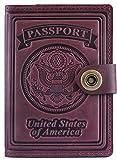 Villini - Leather RFID Blocking US Passport Holder Cover ID Card Wallet - Travel Case (Claret)