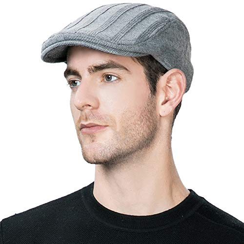 (Jeff & Aimy Wool Newsboy Cap Mens Winter Hat Fitted Hunting Ivy Flat Cap British Drivers Cap Grey)