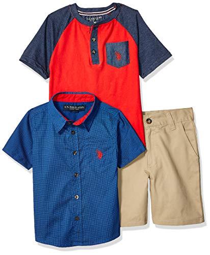 U.S. Polo Assn. Boys' Little 3 Piece Sleeve Sport Shirt, Henley, and Short Set, Blue Red Multi Plaid, 7