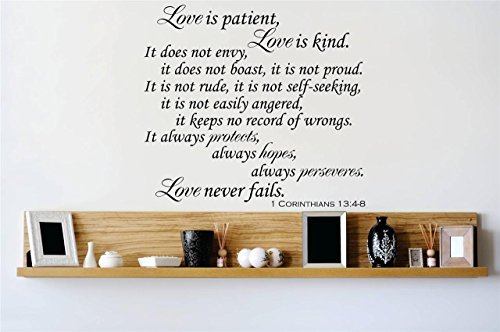 Top Selling Decals - Prices Reduced : Love is Patient Love is Kind It Does not Envy, it Does not Boast.1 Corinthians 13:4-8 Quote Bible Scripture Wall Sticker Size: 18 X 18 Inch
