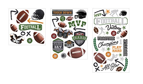- Paper House Productions Sticker Assortment, Football, 3-Pack, 3 Piece