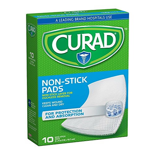 Curad Non-Stick Pads With Adhesive Tabs 3 Inches X 4 Inches 10 Each