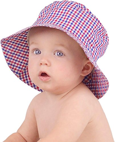 Huggalugs Baby or Toddler Boys Red White Blue Plaid Bucket Hat UPF 50+ 6-12m
