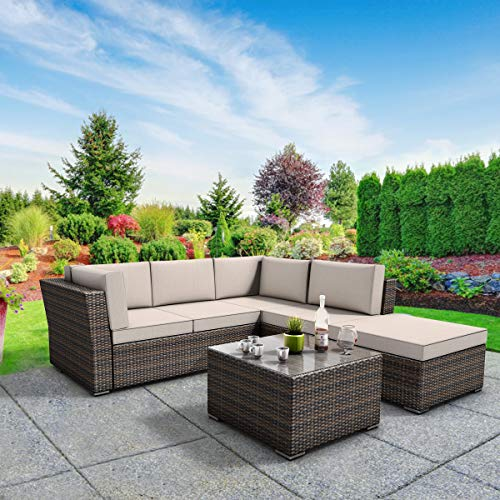Tangkula 4 Piece Furniture Set Patio Outdoor Deck Lawn Backyard Durable Steel Frame PE Rattan Wicker Sectional Sofa Set, Conversation Set with Coffee Table (Brown) ()