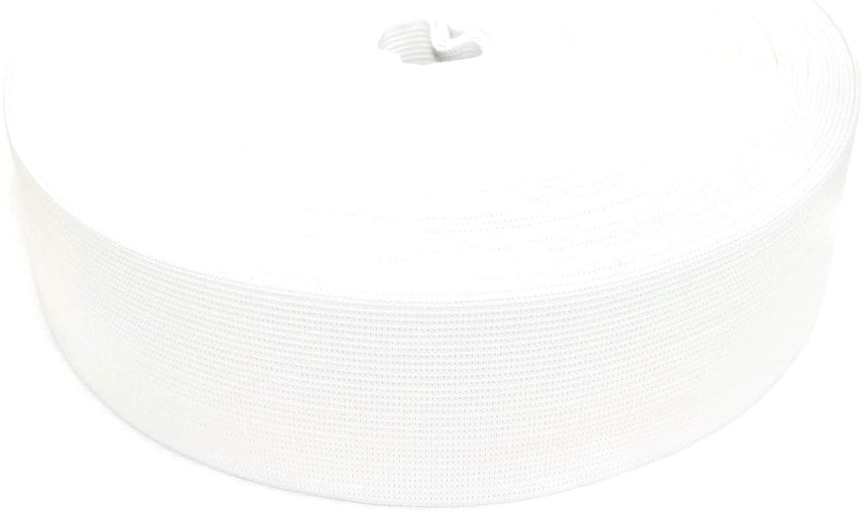 25 Meters (27 Yards) Elastic Band 50 mm wide - White JAJASIO