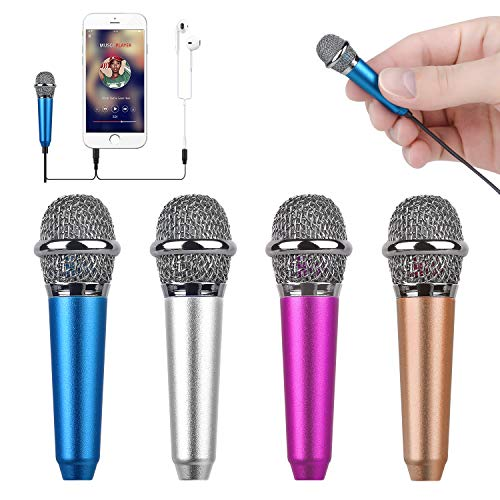 Mini micrófono para celular con clip (azul)