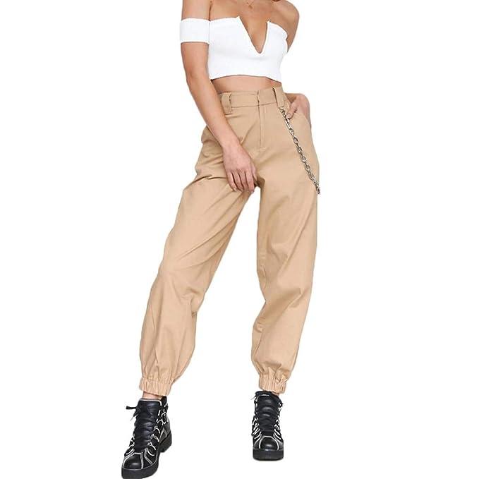 Pantalones de otoño Mujeres Cadenas sólido de alta cintura Harem Hip Hop  sueltan los pantalones de Streetwear  Amazon.es  Ropa y accesorios ebd04603e28