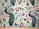 Peacock Floral Pretty Peacocks Flowers Pink Aqua Blue Handcrafted Cotton Curtain Valance t1/23 For Sale