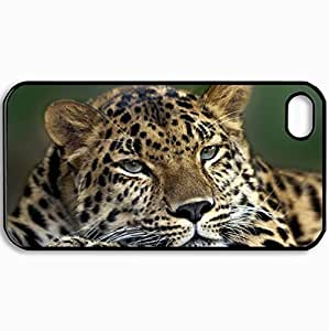 AWU DIYFashion Unique Design Protective Cellphone Back Cover Case For iPhone 4 4S Case Beasts Leopard 27179 Black