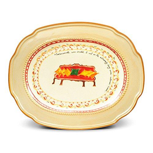 (Pfaltzgraff Villa Della Luna Red Couch Oval Serving Platter, 18-Inch)