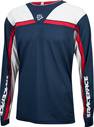 Race Face Stage Long Sleeve Jersey: Navy/Flame XL