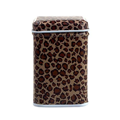 Sannysis Metal Candy Trinket Tin Jewelry Iron Tea Coin Storage Square Box Case (leopard)