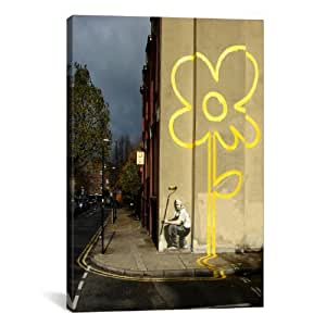 iCanvasART Yellow Lines Flower Painter Canvas Art Print by Banksy, 18 by 12-Inch