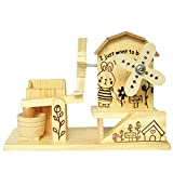 Elisona-2 in 1 Wooden Windmill Style Mechanical Music Box Musical Gift Box Pen Holder