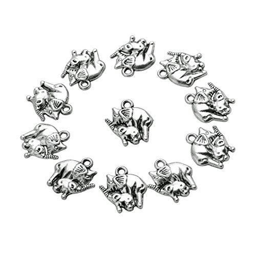 Glass Charm Elephant (20 Pieces Mom and Baby Elephant Lucky Charms Findings for Jewelry Pendants Necklace Making 14mm X 15mm)