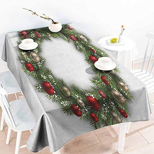 EwaskyOnline Rectangular Tablecloth,Christmas Fresh Classical Christmas Wreath Vivid Balls Snowy Fir Felicitation Theme,Dinner Picnic Table Cloth Home Decoration,W60X90L, Green Gold Red