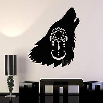 Negro aullando lobo cabeza silueta tatuajes de pared atrapasueños ...