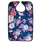 Waterproof Reusable Adult Elders Mealtime Bib Cloth Spill Protector Disability Aid Apron - Hibiscus