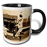 3dRose Scenes from the Past Magic Lantern Slides - Vintage Detroit Tigers Making the Catch Black and Sepia 2 - 11oz Two-Tone Black Mug (mug_16243_4)