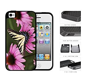 Yellow Butterfly And Pink Flower Garden 2-Piece Dual Layer High Impact Rubber Silicone Cell Phone Case Apple iPhone 4 4s
