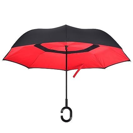 DIDIDD Paraguas reversible creativo lluvia y paraguas doble coche hombre hombre de negocios mango largo paraguas