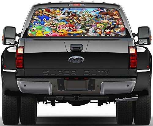 Super Smash Bros Rear Window Decal Graphic Sticker Car Truck SUV Van 483, Large (Super Bros Decal Smash)