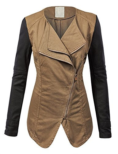 MBJ WJC858 Womens Faux Leather Zip Up Bomber Jacket with Hood XS WHITE